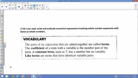 Thumbnail for entry Algebraic Vocabulary