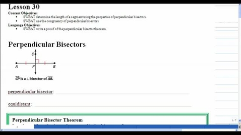 Thumbnail for entry Lesson 30 - Perpendicular Bisectors