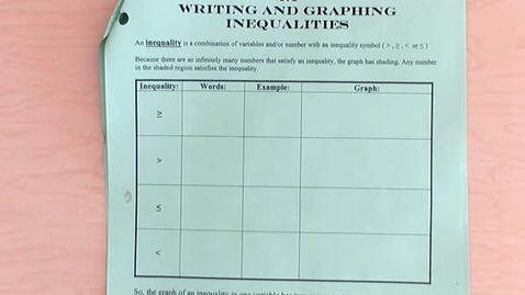 Thumbnail for entry Writing & Graphing Inequalities