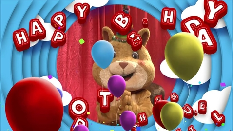 Thumbnail for entry SHORT the Squirrel turns one with a reading pep rally!