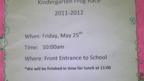 Thumbnail for entry Kindergarten Frog Race 2012