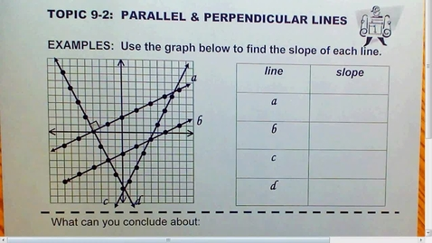 Thumbnail for entry 9.2 Parallel and Perpendicular lines