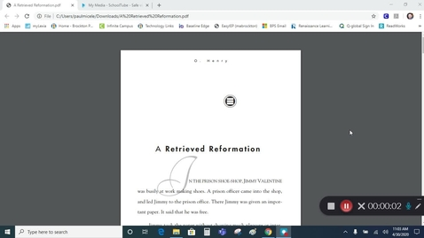 "Thumbnail for entry Grade 7 - ""A Retrieved Reformation"""