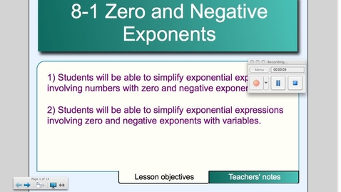 Thumbnail for entry 8-1 Zero and Negative Exponents