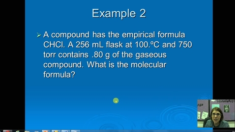 Thumbnail for entry Unit 5 Gas Density and Molar Mass Example 2