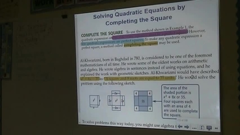 Thumbnail for entry Alg Lesson 10-3 Completing the Square