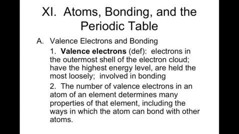 Thumbnail for entry Unit 5, Part 2 Atomic Chemistry Video 3 Valence Electrons, Lewis Dot, Bohr Model, Criss-Cross Method