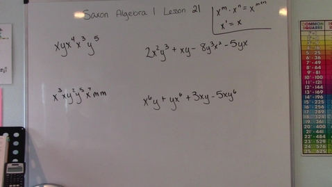 Thumbnail for entry Saxon Algebra 1 - Lesson 21 - Product Rule for Exponents & Adding Like Terms with Exponents