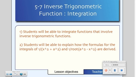 Thumbnail for entry 5-7 Inverse Trig Functions: Integration