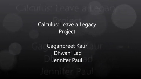Thumbnail for entry Leave a Legacy Project