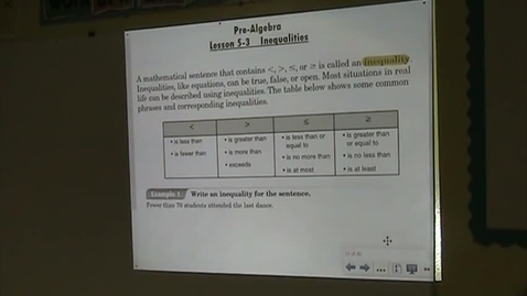 Thumbnail for entry PA Lesson 5-3 Inequalities Part 1