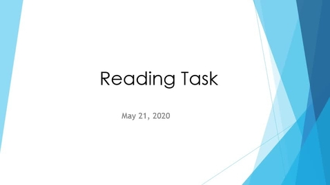 Thumbnail for entry Reading Task May 21 Author's Purpose