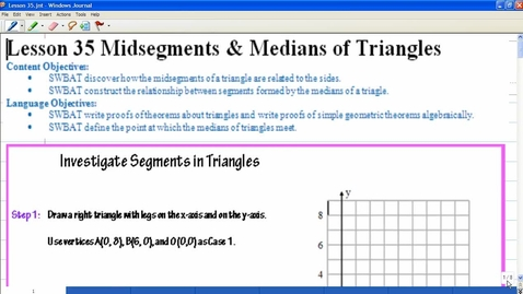 Thumbnail for entry Lesson 35 Midsegments & Medians of Triangles