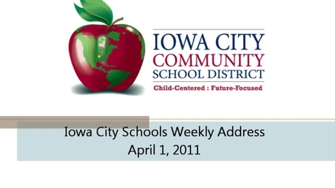 Thumbnail for entry Weekly Address 2011-04-01