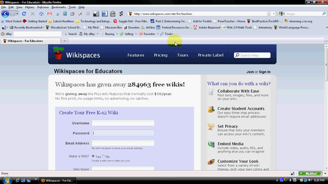 Thumbnail for entry Creating a Wikispaces Account