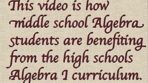Thumbnail for entry Distance learning with Algebra I.