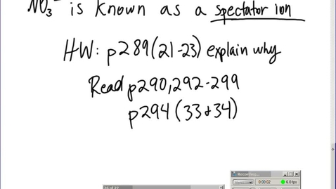 Thumbnail for entry Stephens Pre-AP Chemistry: (4-22-15) Ionic equations from single and double replacements