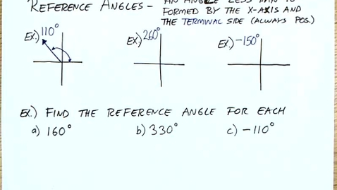 Thumbnail for entry 5-1 Angles in the Coordinate Plane Reference Angles