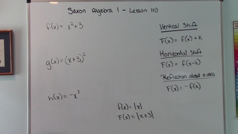Thumbnail for entry Saxon Algebra 1 - Lesson 110 - Vertical Shifts, Horizontal Shifts, Reflection About the x Axis