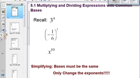 Thumbnail for entry Product and Quotient exponent rules