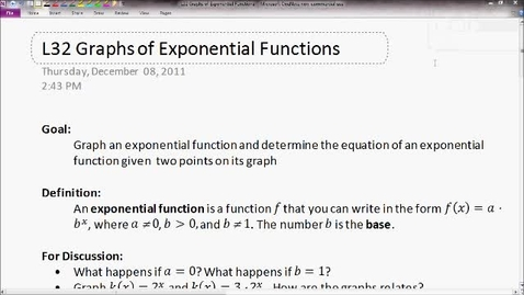 Thumbnail for entry Graphs of Exponential Functions