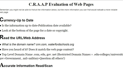 Thumbnail for entry CRAAP - Students will learn how to determine if a web page is up to date.