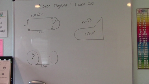 Thumbnail for entry Saxon Algebra 1 - Lesson 20 - Volume