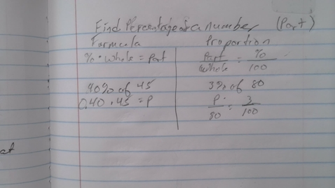 Thumbnail for entry Find Percentage of a number and Find a percent Fundamentals