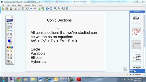 Thumbnail for entry Conic Sections