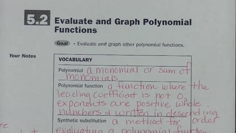 Thumbnail for entry Alg 2 Sec 5.2 Polynomial Functions