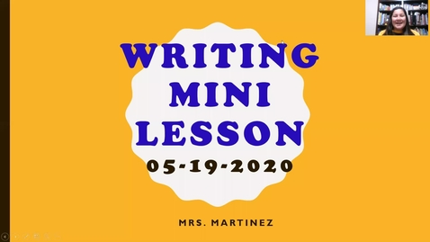 Thumbnail for entry Mini Writing Lesson on First Memories_5/19/2020