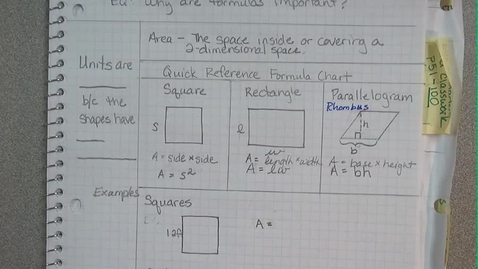 Thumbnail for entry 6 PACE EUS 7 Formulas - Area - Parallelograms