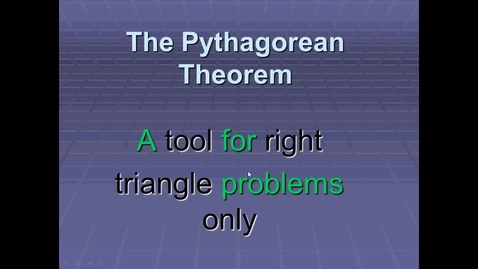 Thumbnail for entry Video #11 Unit 6 Pythagorean Theorem