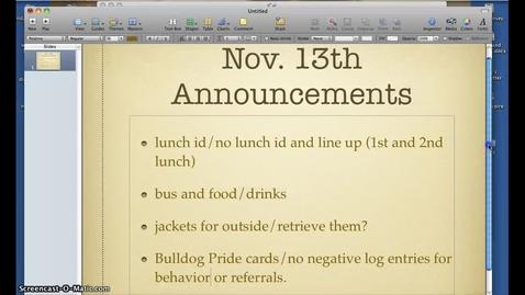 Thumbnail for entry november 13th advisory