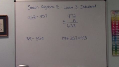 Thumbnail for entry Saxon Algebra 1/2 - Lesson 3 - Subtraction - Missing Numbers - Instructional Video
