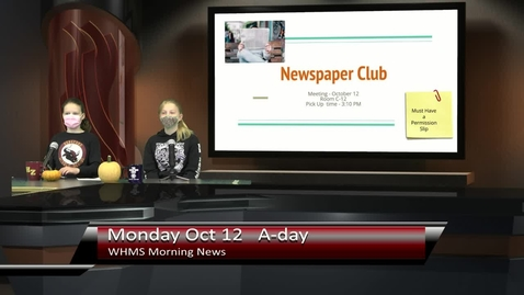 Thumbnail for entry WHMS Morning News  Oct 12, 2021