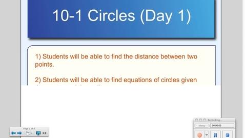 Thumbnail for entry 10-1 Circles (Day # 1)