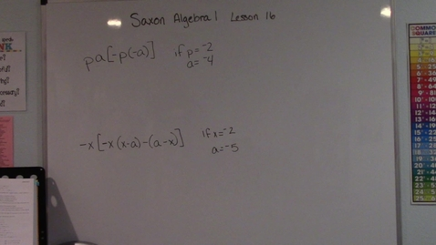 Thumbnail for entry Saxon Algebra 1 - Lesson 16 - More Complicated Evaluations