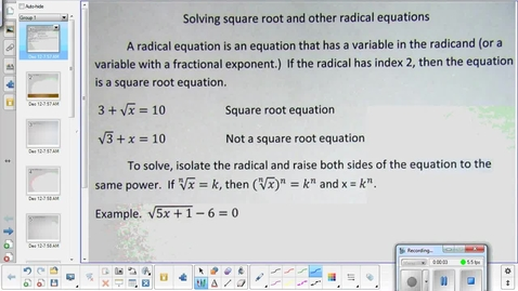 Thumbnail for entry Solving radical equations lesson pt 1   1-6-15
