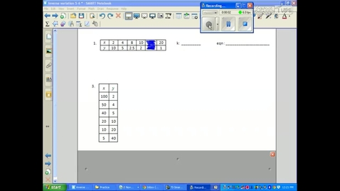 Thumbnail for entry Inverse Variation 18.2 writing an equation example 2