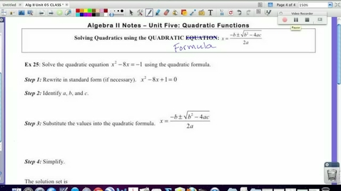 Thumbnail for entry 5.4 Solving with the Quadratic Formula