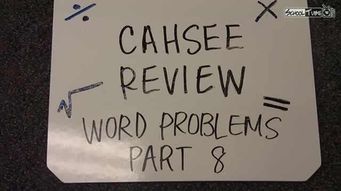 Thumbnail for entry Word Problems PART VIII