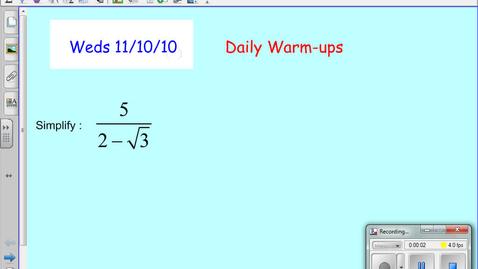 Thumbnail for entry ALG Nov 10 Weds Solving Incomplete Quadratic Equations