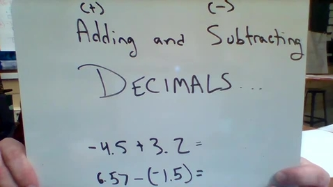 Thumbnail for entry Adding and Subtracting Decimals