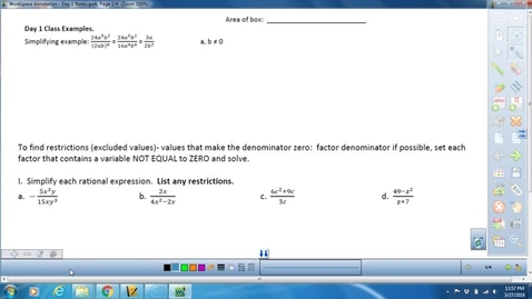Thumbnail for entry Unit 5 Day 1 Notes on Simplifying and Multiplying Rationals