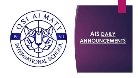 Thumbnail for entry QSI AIS Thursday, May 14 announcements