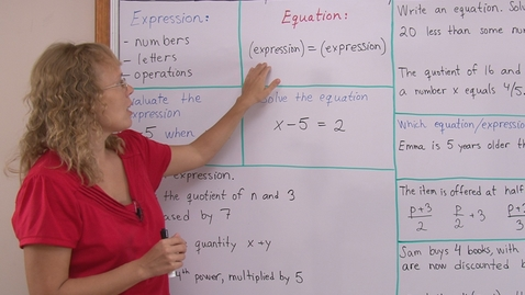 Thumbnail for entry What are Expressions and Equations? (pre-algebra)