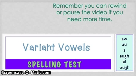 Thumbnail for entry 5.4- Variant Vowels AW