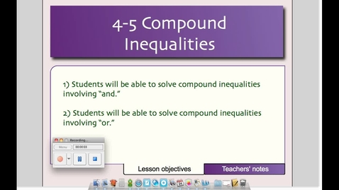 Thumbnail for entry 4-5 Compound Inequalities