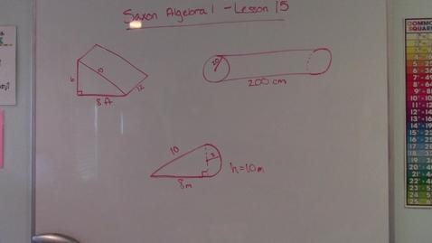 Thumbnail for entry Saxon Algebra 1 - Lesson 15 Surface Area